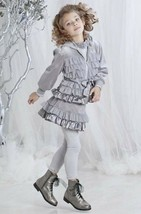 Kate Mack Girls 4 Piece Jacket+Skirt+Top+Leggings Outfit Gray Size 2T Ve... - $107.53