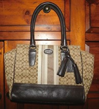 Coach Legacy Signature Stripe Brown Tote Bag 19915 - $38.25