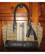 Coach Legacy Signature Stripe Brown Tote Bag 19915 - $38.25