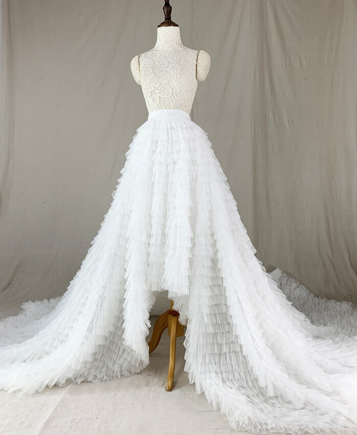 White bridal skirt tiered 1