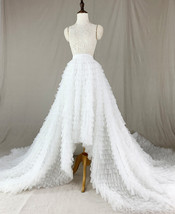 White High Low Tulle Skirt White Bridal Wedding Skirt with Train image 1