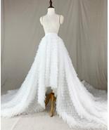 White High Low Tulle Skirt White Bridal Wedding Skirt with Train - $169.99