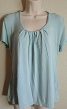 Liz Claiborne Scoop Neck Short Sleeve Blue Shirt Sz M Medium Rayon Spandex - $12.99