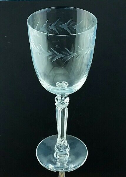 "Primary image for 12 Fostoria 7 7/8"" Crystal Tall Water Wine Goblets Greek Column Wheel Cut Holly"