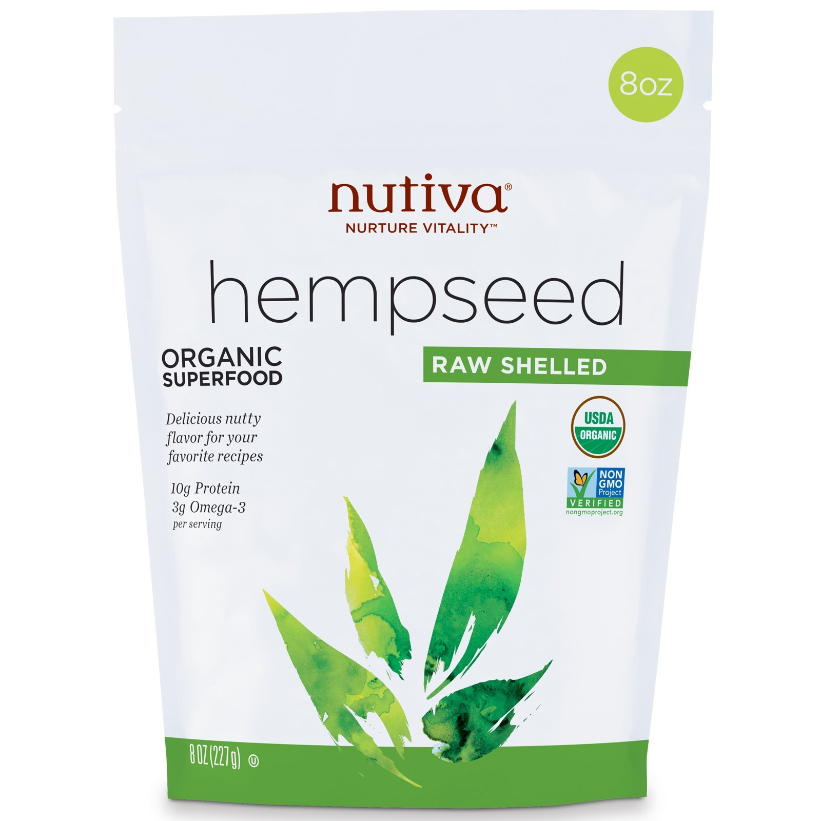 Nutiva, Hempseed, Organic Superfood, Raw Shelled, 8 oz (227 g)  productos orgáni for sale  USA