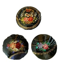 Vintage Russian Hand Painted Signed Flowers Floral Black Lacquer Brooch ... - $29.98