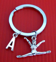Gymnast Keychain, Gymnast Key Ring, Exercise Keychain, Initial Keychain,... - $8.30