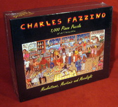 Charles Fazzino Puzzle Manhattans Martinis Moonlight 1000 Pop Art NEW FR... - $29.00