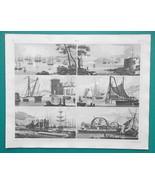 SHIPS Docks Naval Arsenals Cranes Dredging Pile Driving - 1844 Superb Print - $19.80
