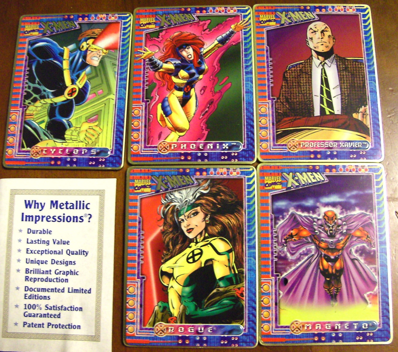 Ultra RARE Official X-Men Metallic Impressions Card Set w Tin + BONUS XME Cards!