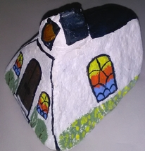 Country Church painted on a rock image 3