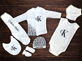 New Born Baby Set Calvin Klein, 7 pieces 0-6 Months, HIGH QUALITY !! - $49.99