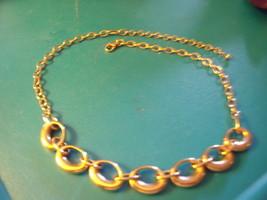 Gold tone Necklace of Ovals - Vintage - $23.00