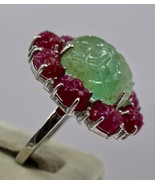 ANTIQUE NATURAL COLOMBIAN EMERALD RUBY CARVED GEMSTONE DIAMOND 925 SILVE... - $478.80