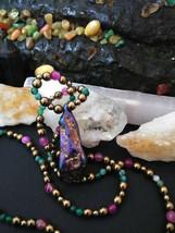 Natural Stone Rainbow Hematite Pendant Necklace with Pyrite Mardi Gras C... - $24.26