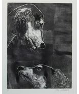 Black Saluki Monotype Dog Art Solomon - $275.00