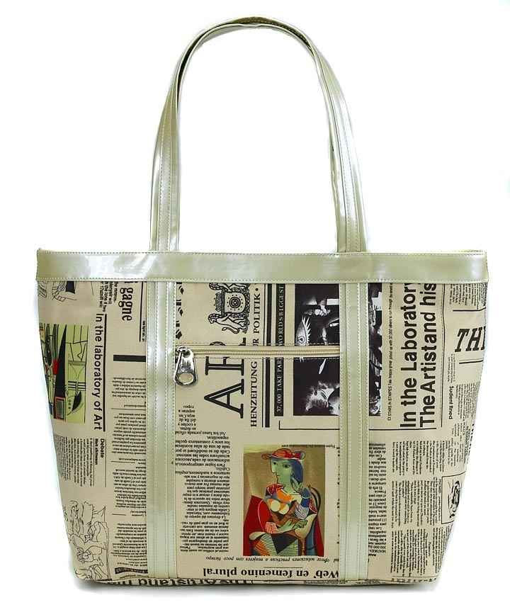 Cloth Newspaper Print Bag with Color Art
