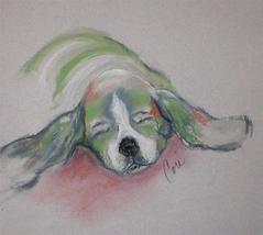 Basset Hound Dog Art Framed Pastel Drawing Solomon - $125.00