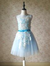 Girl Light Blue Flower Lace Dress High Waist Flower Girl Party Dress Birthday  image 2