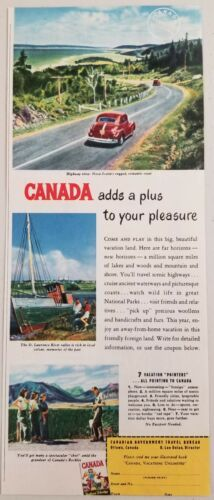 Primary image for 1949 Print Ad Canada Travel Bureau Nova Scotia,Rockies,St Lawrence River Valley
