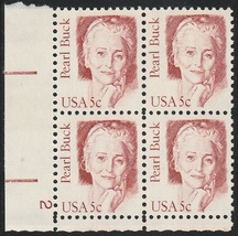 1983 Pearl Buck Plate Block of 4 US Postage Stamps Catalog Number 1848 MNH