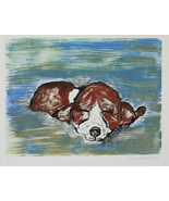 Basset Hound Dog Art Puppy Hand Pulled Print Monotype Solomo - $40.00