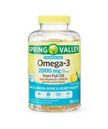 Spring Valley Omega-3 Fish Oil Plus Vitamin D3 Softgels, 120 Count - $30.41