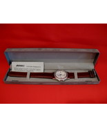 Mens ALCRAFT Watch Brown Leather Strap NEW in Presentation Box LETTER In... - $34.95