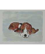 Basset Hound Puppy Dog Art Hand Pulled Print Monotype Solomo - $40.00