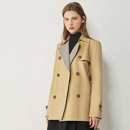 Inimalism autumn winter women s windbreaker fashion plaid spliced lapel belt women s trench coat