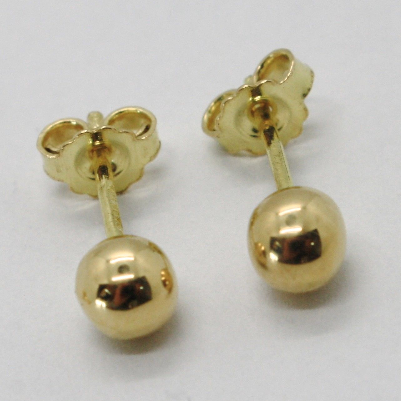 18K YELLOW GOLD EARRINGS WITH BALL BALLS SPHERES SPHERE DIAM. 5 MM MADE IN ITALY
