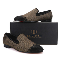 Men FERUCCI Black Gold Crystal GZ Rhinestone Slippers Loafers Flat - $179.99