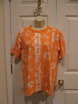 New in pkg boutique europa  ORANGE/ white tropical  100% cotton tee size... - $8.90