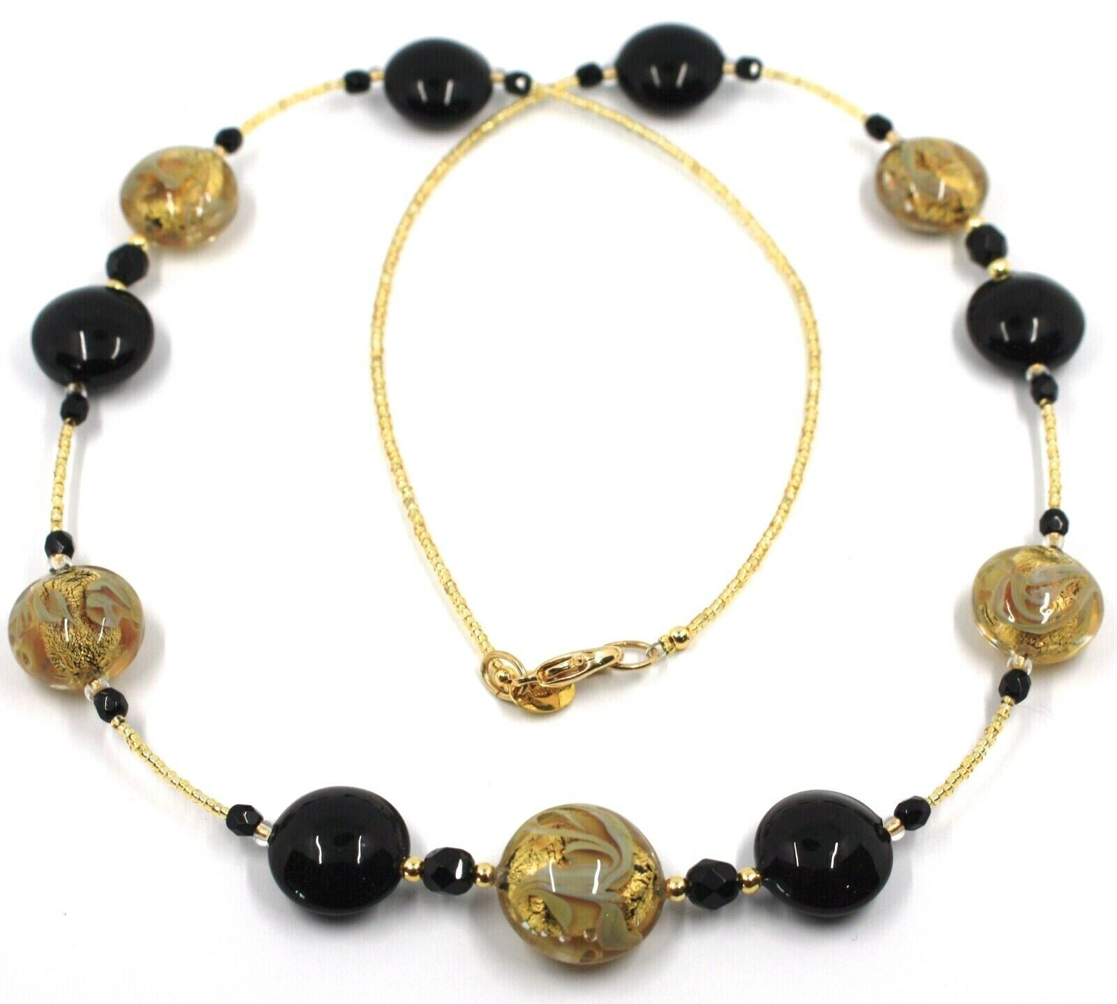 """LONG NECKLACE BLACK YELLOW MURANO GLASS DISC GOLD LEAF, 70cm, 27.5"""" ITALY MADE"""