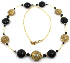"""LONG NECKLACE BLACK YELLOW MURANO GLASS DISC GOLD LEAF, 70cm, 27.5"""" ITALY MADE image 1"""