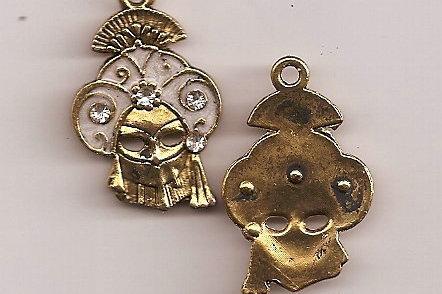 Mardi Gras Tibetan Gold Plated Pendant  One left