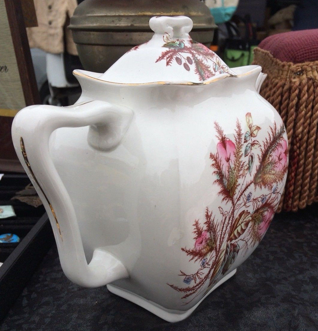 VTG George Jones & Sons Pink Thistle Moss Rose Teapot Porcelaines Opaque China