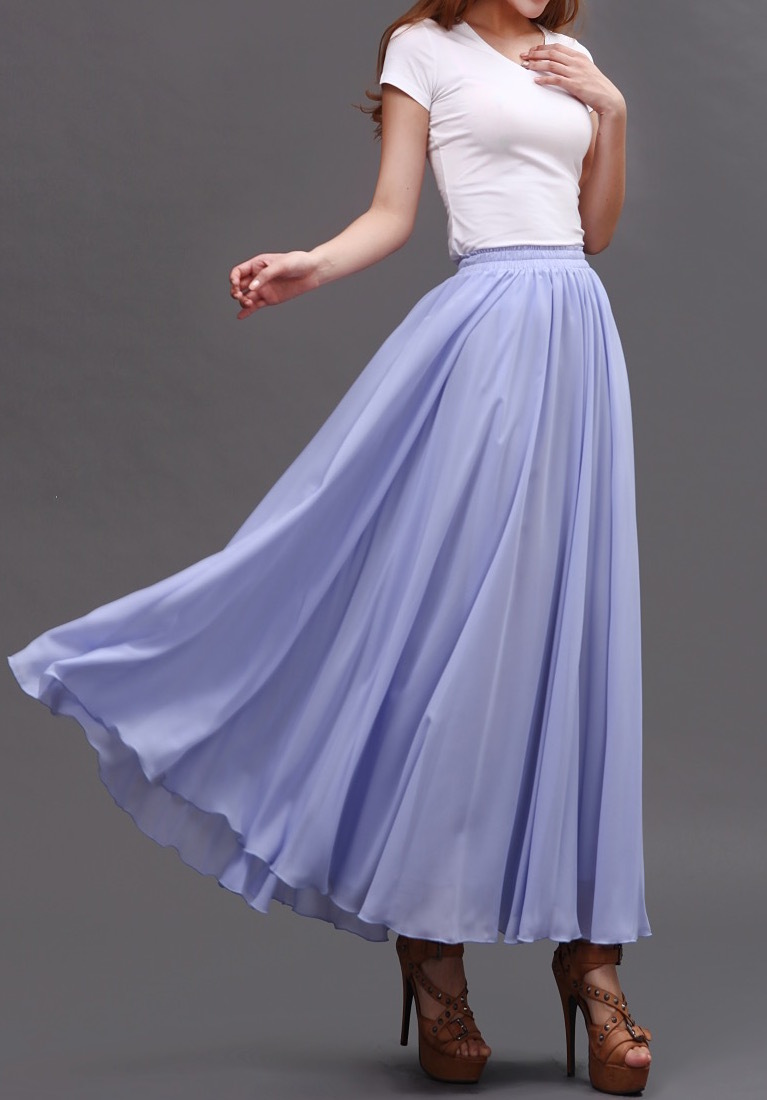 Lavender Purple Chiffon Skirt Women Chiffon Long Skirt Wedding Bridesmaid Skirts
