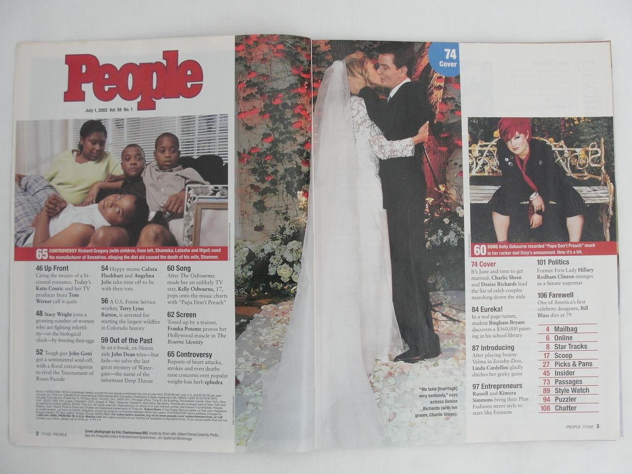 People Magazine 2002 July 1 Charlie Sheen Denise Richards Angelina Jolie Kelly O