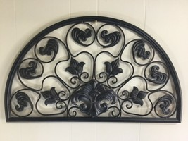 "Arched Metal Wall Grille Decor Semi Circle Fleur-de-Lis Wrought Iron 27""Wx15""H - $86.89"