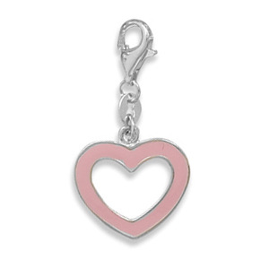 Pink Heart Charm with Lobster Clasp