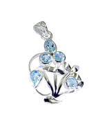 jaipur 925 Sterling Silver charming Natural Blue Pendant UK gift - $22.83