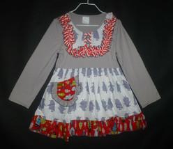 NEW Girls Boutique Ruffle Penguin Gray Long Sleeve Pink Dress 3-4 4-5 5-6 - $12.99