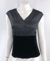 Talbots Top Size 6 Black Silk Velvet Cap Sleeve Blouse V Neck Mixed Medi... - $19.80