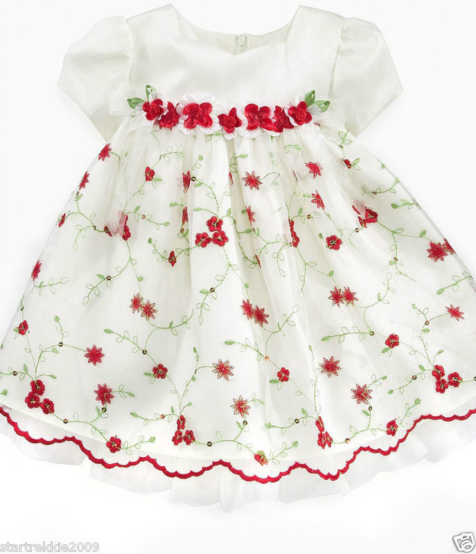 Bonnie Baby Girls Holiday/Party/Wedding 2 Pc Dress Set.  White Color,Sz18 Months
