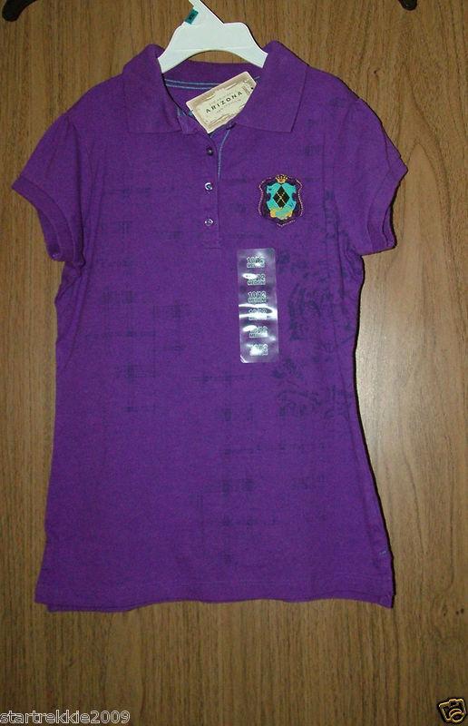 NWT ARIZONA Girl's Purple Polo Shirt,   Short Sleeves, Size Medium(10-12)