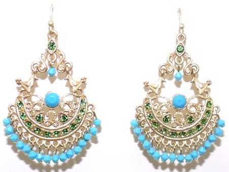Primary image for Marlyn Schiff Gold Tone Turquoise Green Chandelier Earrings New