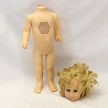 Chatty Cathy Doll Brunette Mattel parts or repairs 1960 Blue Eyes Talking  - $34.30