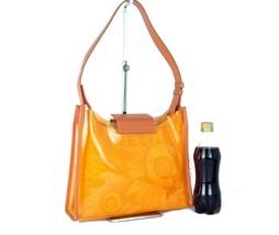 Auth SALVATORE FERRAGAMO Clear Plastic & Cotton Canvas Shoulder Bag Purs... - $147.51