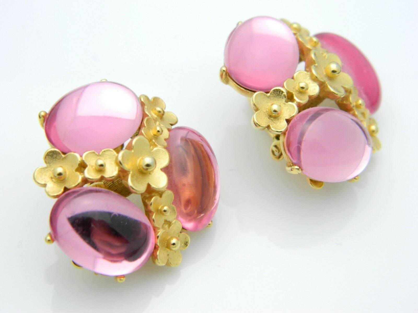 Trifari TM Pink Lucite Jelly Belly Flower Gold Tone Earrings Vintage